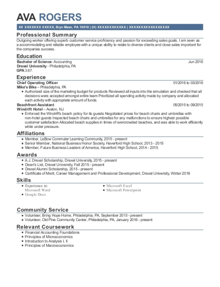 Chief Operating Officer resume example Pennsylvania