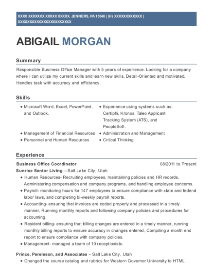 Business Office Coordinator resume template Pennsylvania