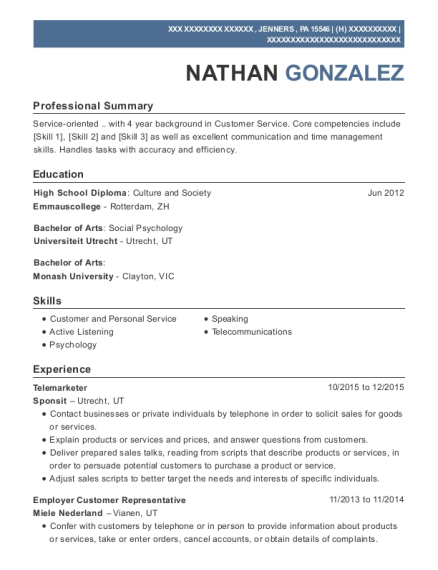 Telemarketer resume example Pennsylvania