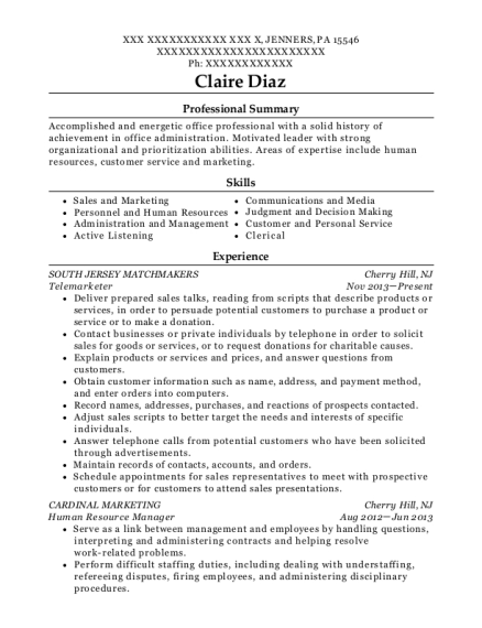 Telemarketer resume sample Pennsylvania