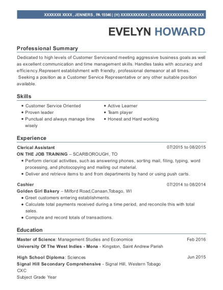 Clerical Assistant resume sample Pennsylvania