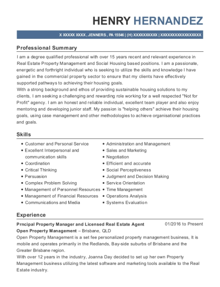 Prncipal Property Manager and Licensed Real Estate Agent resume format Pennsylvania