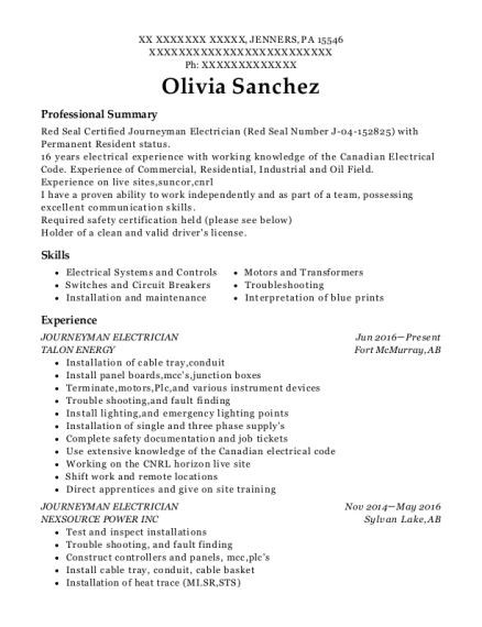 JOURNEYMAN ELECTRICIAN resume sample Pennsylvania