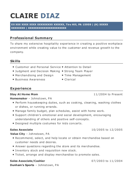 Stay At Home Mom resume sample Pennsylvania