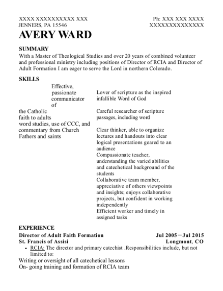 Director of Adult Faith Formation resume format Pennsylvania