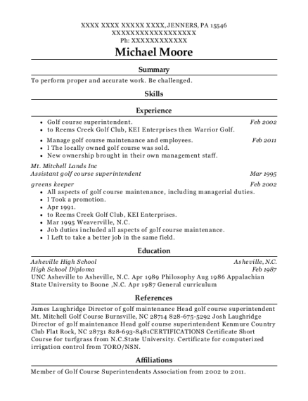Assistant golf course superintendent resume format Pennsylvania