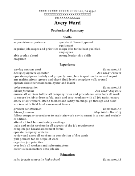 Heavy Equipment Operator resume format Pennsylvania