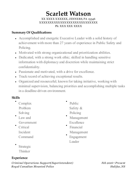 Criminal Operations Support resume template Pennsylvania