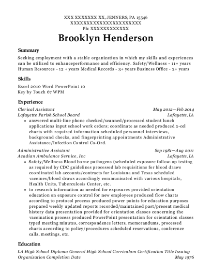 Clerical Assistant resume example Pennsylvania