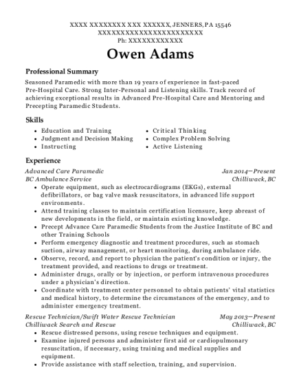 Advanced Care Paramedic resume template Pennsylvania