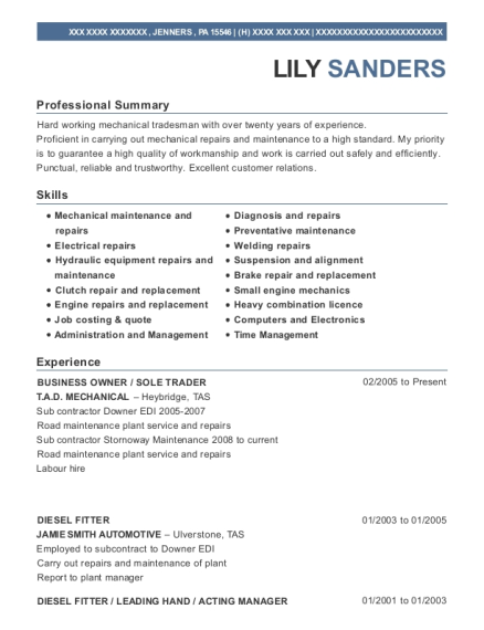 BUSINESS OWNER resume template Pennsylvania