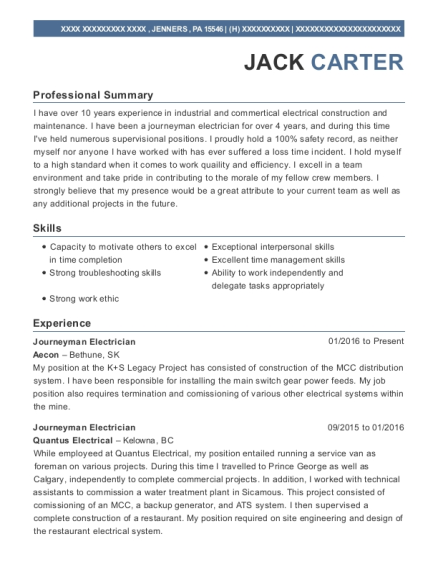 Journeyman Electrician resume example Pennsylvania
