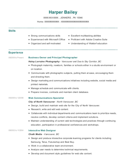 Business Owner and Principal Photographer resume sample Pennsylvania