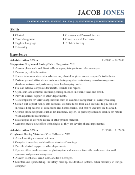 Administration Officer resume format Pennsylvania