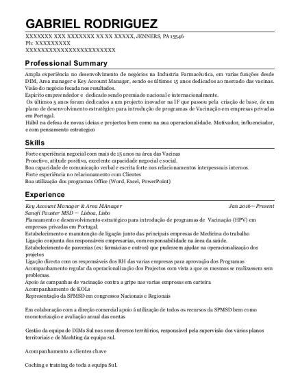 Key Account Manager & Area MAnager resume sample Pennsylvania