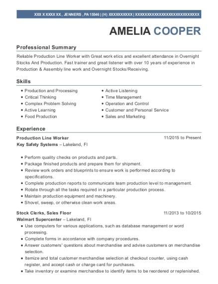 Production Line Worker resume template Pennsylvania