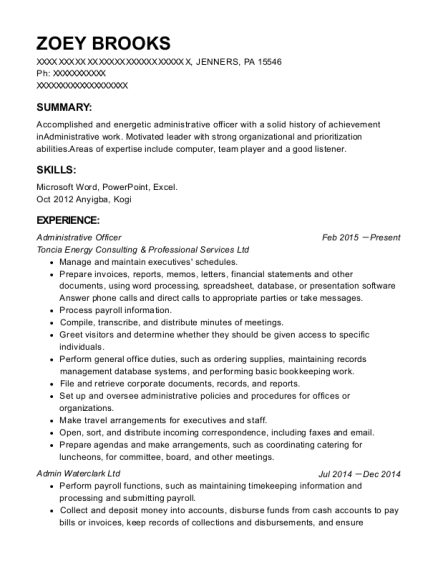 Administrative Officer resume template Pennsylvania
