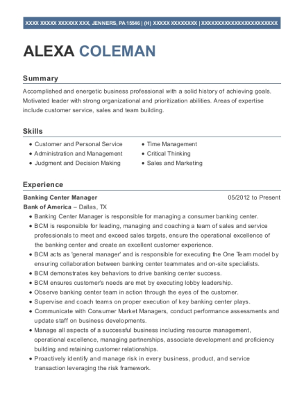Banking Center Manager resume template Pennsylvania