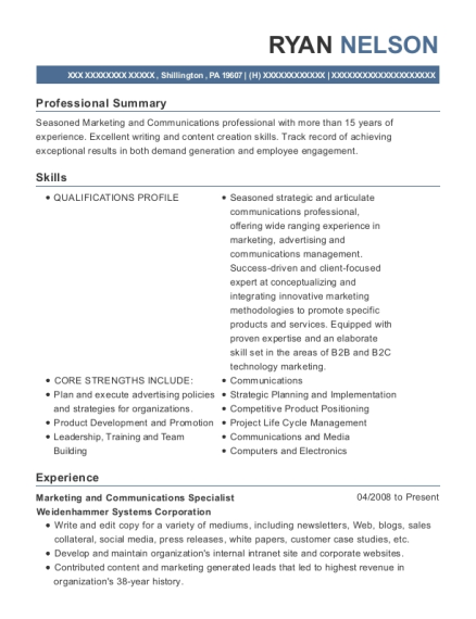 Marketing and Communications Specialist resume example Pennsylvania