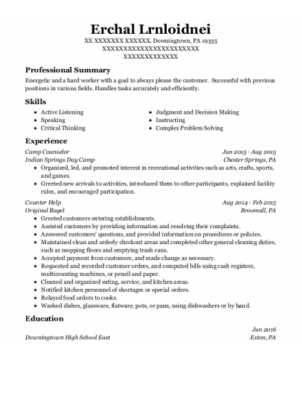 Camp Counselor resume template Pennsylvania