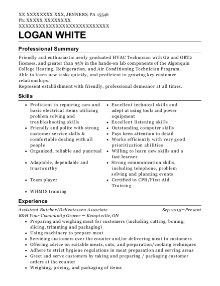 Assistant Butcher resume format Pennsylvania