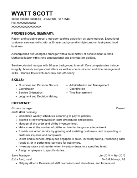 Grocery manager resume template Pennsylvania