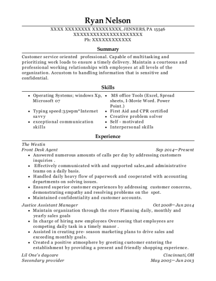 Front Desk Agent resume example Pennsylvania