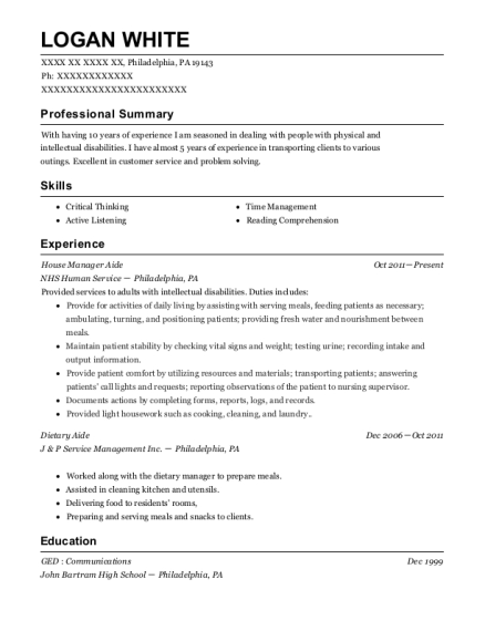 House Manager Aide resume sample Pennsylvania