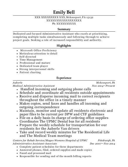 Medical Administrative Assistant resume example Pennsylvania