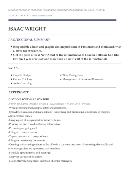 Admin & Graphic Design resume example Pennsylvania