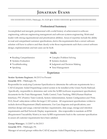 Senior Systems Engineer resume template Pennsylvania