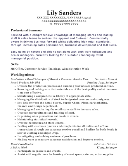 Production Retail Manager resume sample Pennsylvania
