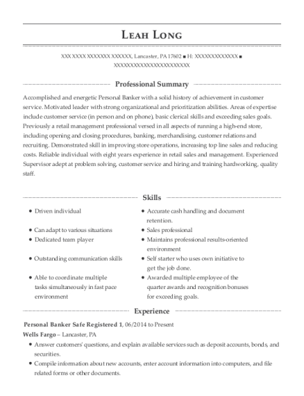 Personal Banker Safe Registered 1 resume sample Pennsylvania