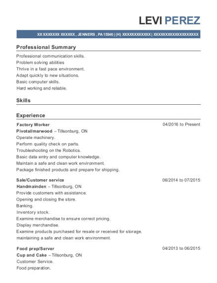 Factory Worker resume template Pennsylvania