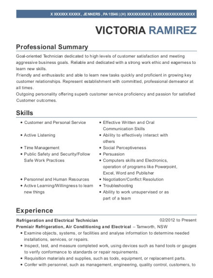 Refrigeration and Electrical Technician resume format Pennsylvania