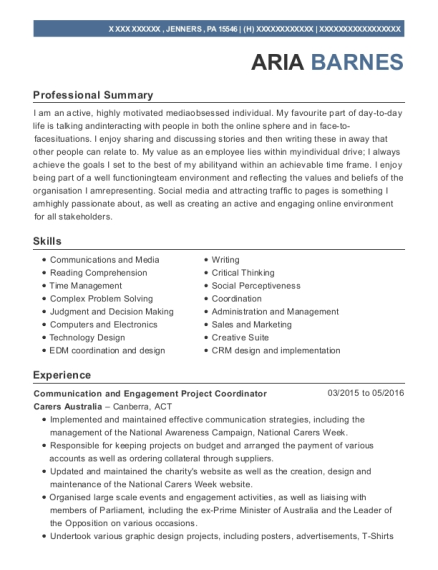 Communication and Engagement Project Coordinator resume format Pennsylvania