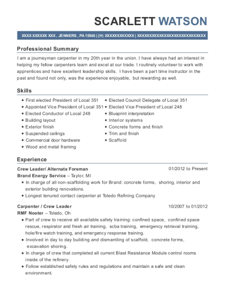 Crew Leader resume example Pennsylvania