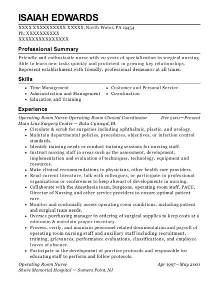 Operating Room Nurse Operating Room Clinical Coordinator resume template Pennsylvania