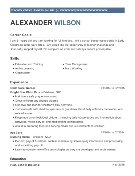 Child Care Worker resume template Pennsylvania