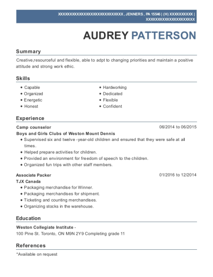 Camp Counselor resume example Pennsylvania
