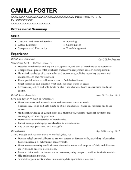 Retail Sale Associate resume template Pennsylvania