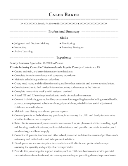 Family Resource Specialist resume example Pennsylvania