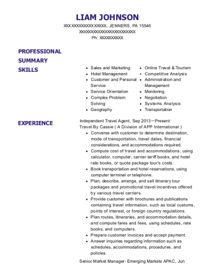Independent Travel Agent resume template Pennsylvania