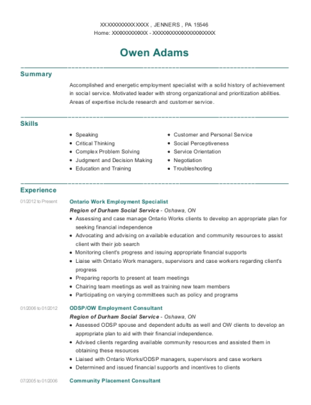 Ontario Work Employment Specialist resume example Pennsylvania