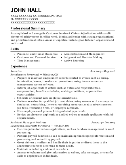 Recruiter resume format Pennsylvania