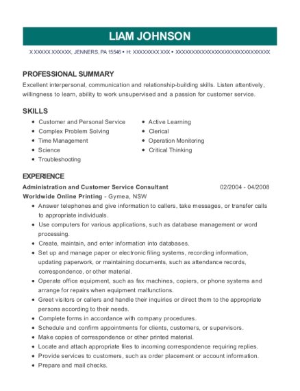 Administration and Customer Service Consultant resume example Pennsylvania