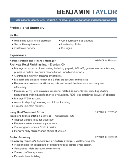 Administration and Finance Manager resume template Pennsylvania
