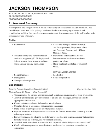 Security Forces Operations Superintendent resume sample Pennsylvania