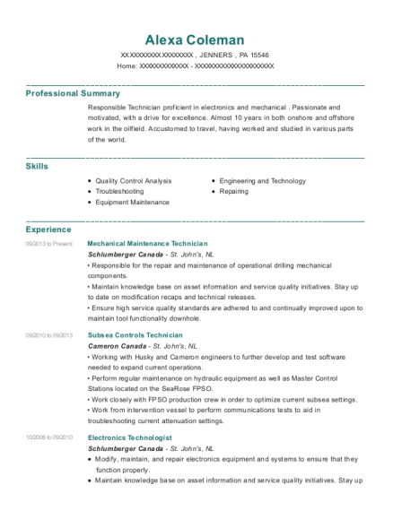 Mechanical Maintenance Technician resume template Pennsylvania