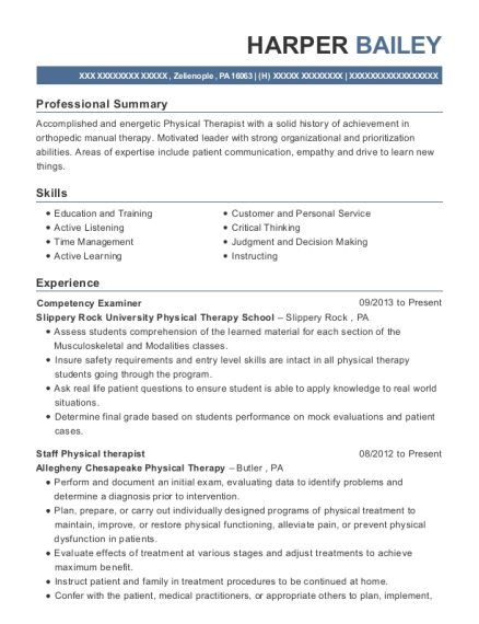 Competency Examiner resume format Pennsylvania